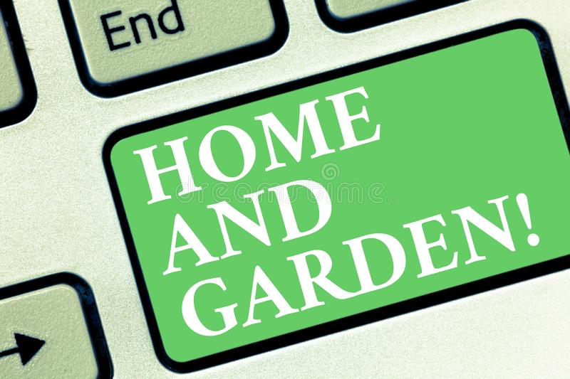 Conceptual hand writing showing Home And Garden. Business photo showcasing Gardening and house activities hobbies. Agriculture Keyboard key Intention to create stock illustration