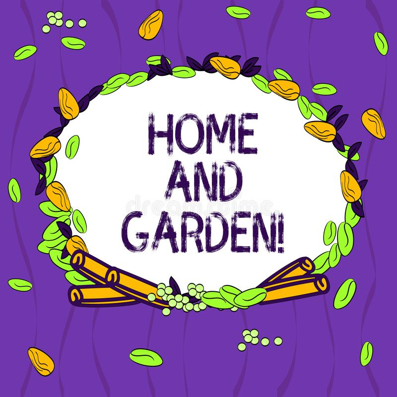 Conceptual hand writing showing Home And Garden. Business photo showcasing Gardening and house activities hobbies. Agriculture Wreath Made of Different Color vector illustration