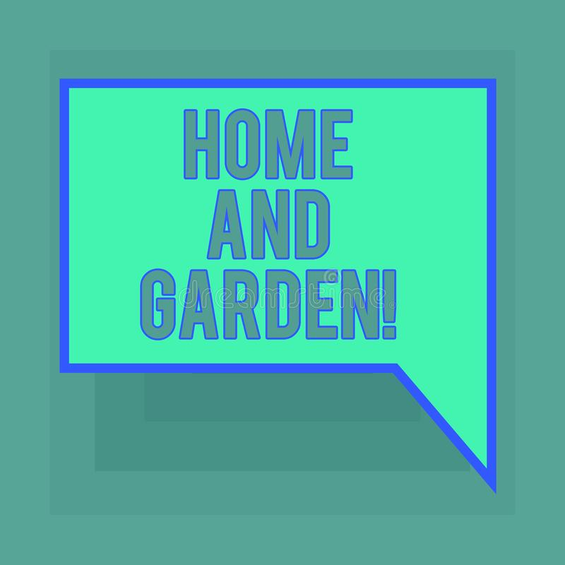 Conceptual hand writing showing Home And Garden. Business photo text Gardening and house activities hobbies agriculture. Blank Deformed Color Round Shape with royalty free illustration