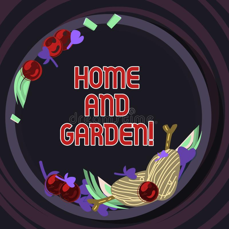 Conceptual hand writing showing Home And Garden. Business photo text Gardening and house activities hobbies agriculture. Hand Drawn Lamb Chops Herb Spice Cherry royalty free illustration
