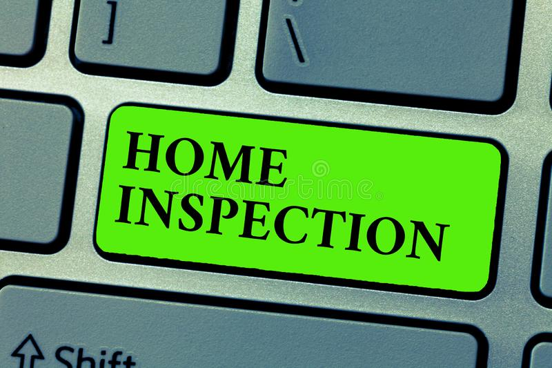 Conceptual hand writing showing Home Inspection. Business photo text Examination of the condition of a home related. Property royalty free stock image