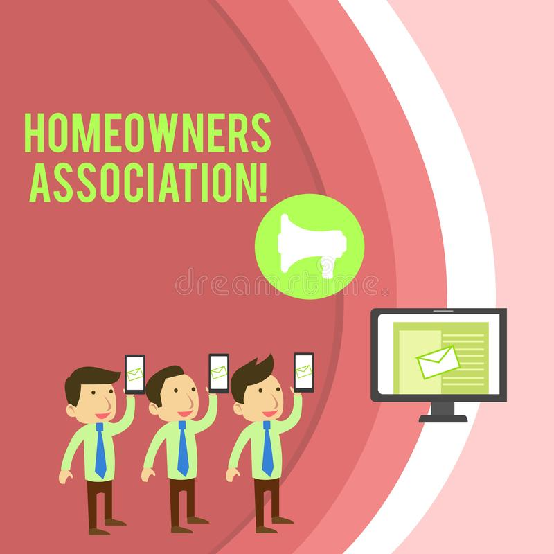 Conceptual hand writing showing Homeowners Association. Business photo showcasing Organization with fee for upkeeps of. Conceptual hand writing showing vector illustration