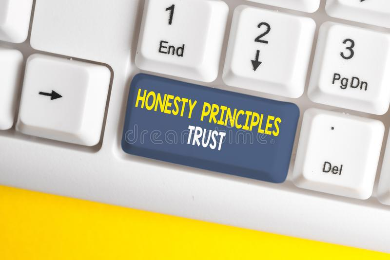 Conceptual hand writing showing Honesty Principles Trust. Business photo showcasing believing someone words for granted. Conceptual hand writing showing Honesty royalty free stock images