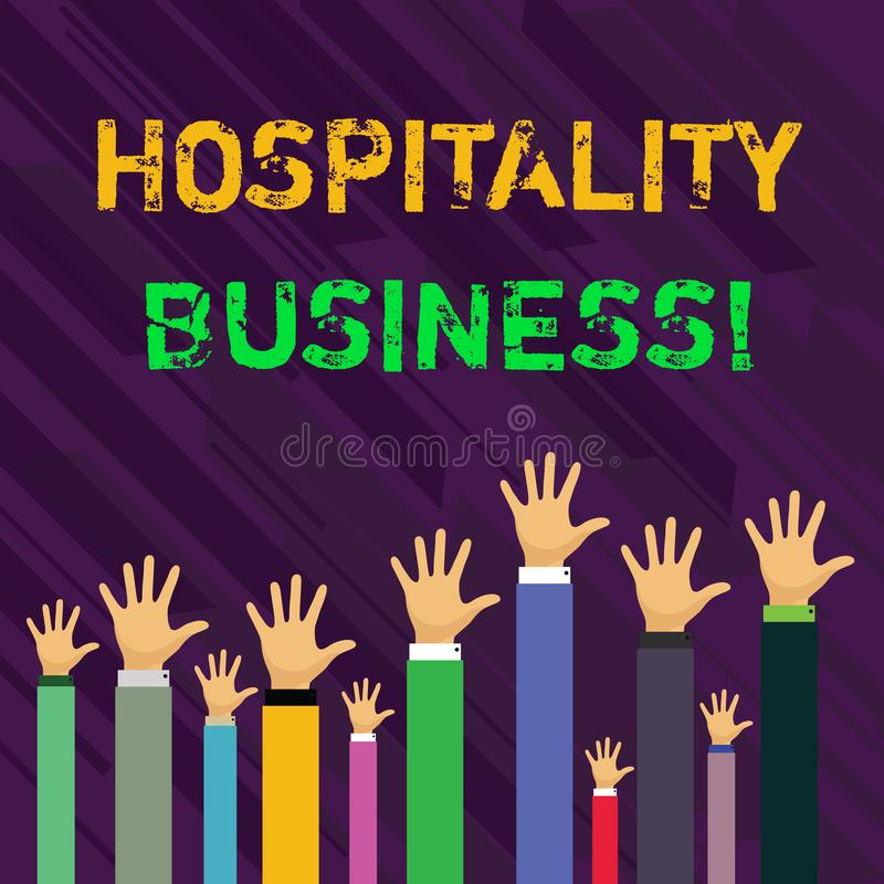 Conceptual hand writing showing Hospitality Business. Business photo showcasing broad category of fields within service. Conceptual hand writing showing stock illustration