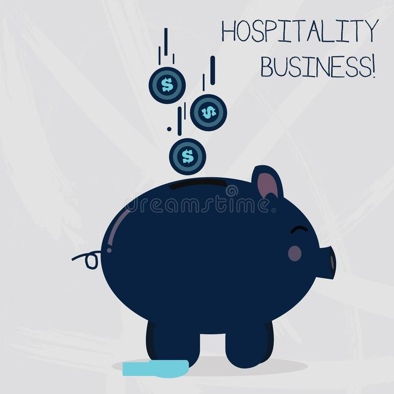 Conceptual hand writing showing Hospitality Business. Business photo text broad category of fields within service. Conceptual hand writing showing Hospitality royalty free illustration