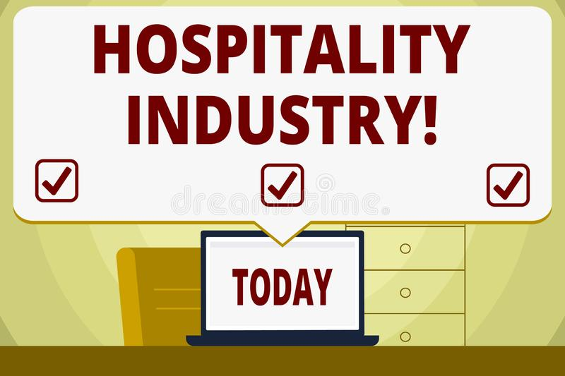 Conceptual hand writing showing Hospitality Industry. Business photo showcasing focus on the hotel and accommodation. Conceptual hand writing showing Hospitality vector illustration