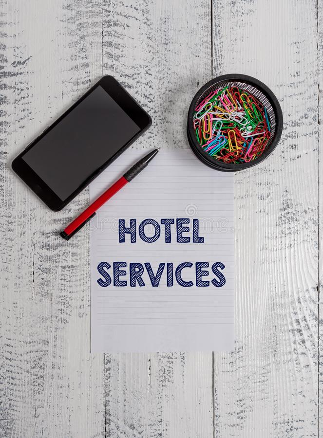 Conceptual hand writing showing Hotel Services. Business photo text Facilities Amenities of an accommodation and lodging. Conceptual hand writing showing Hotel royalty free stock images