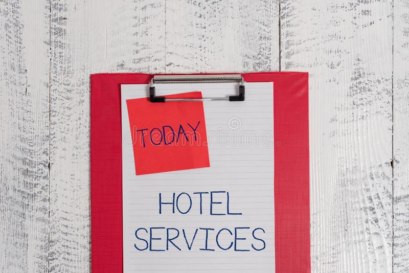 Conceptual hand writing showing Hotel Services. Business photo text Facilities Amenities of an accommodation and lodging. Conceptual hand writing showing Hotel stock photos