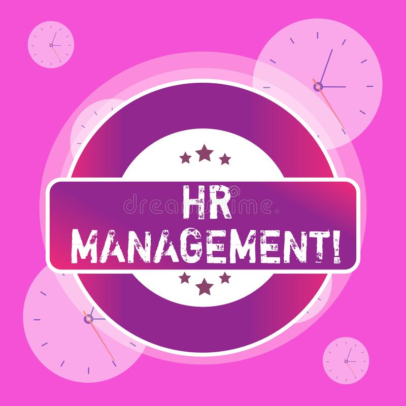 Conceptual hand writing showing Hr Management. Business photo text strategic approach to the effective analysisagement. Conceptual hand writing showing Hr royalty free illustration