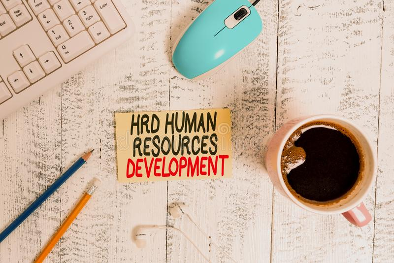 Conceptual hand writing showing Hrd Huanalysis Resources Development. Business photo text helping employees develop. Conceptual hand writing showing Hrd stock photos