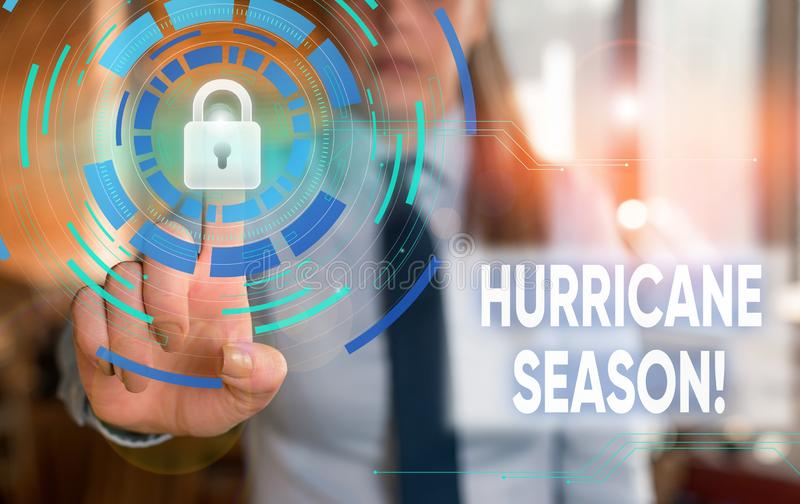 Conceptual hand writing showing Hurricane Season. Business photo showcasing time when most tropical cyclones are. Conceptual hand writing showing Hurricane stock photography