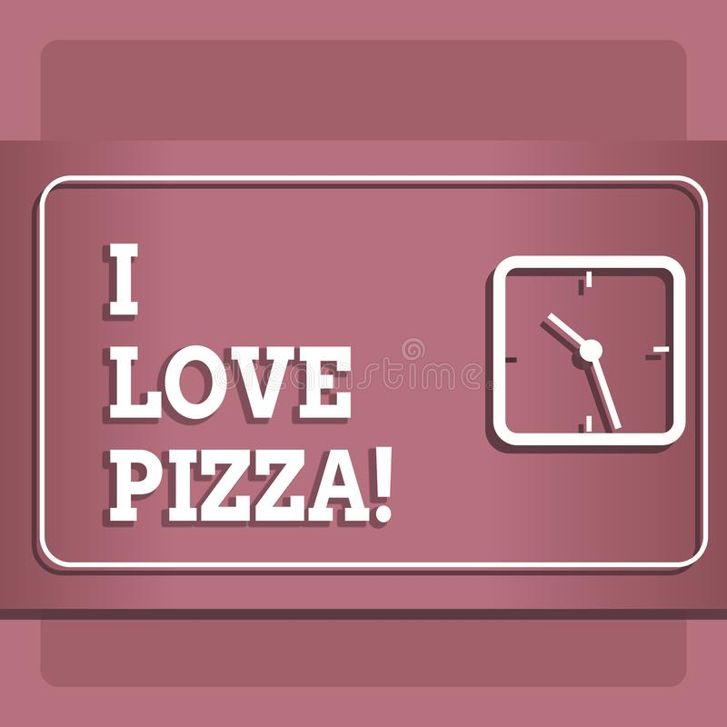 Conceptual hand writing showing I Love Pizza. Business photo showcasing To like a lot Italian food with cheese ham pepperoni in. Slices vector illustration