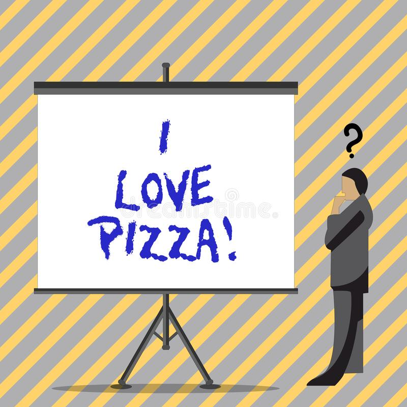 Conceptual hand writing showing I Love Pizza. Business photo text To like a lot Italian food with cheese ham pepperoni. In slices stock illustration
