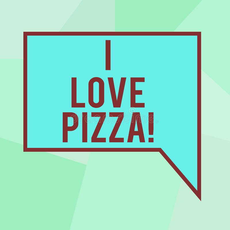 Conceptual hand writing showing I Love Pizza. Business photo text To like a lot Italian food with cheese ham pepperoni. In slices Blank Deformed Color Round royalty free illustration