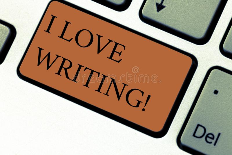 Conceptual hand writing showing I Love Writing. Business photo text Affection for creating novels journals inspirational royalty free stock image