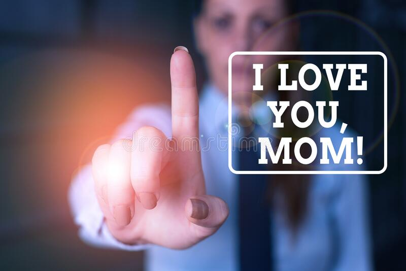 Conceptual hand writing showing I Love You, Mom. Business photo showcasing Loving message emotional feelings affection royalty free stock images
