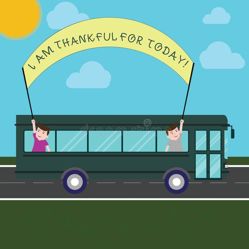 Conceptual hand writing showing I Am Thankful For Today. Business photo text Grateful about living one more day royalty free illustration