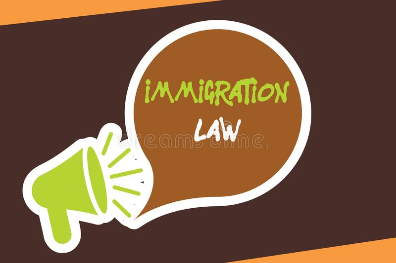 Conceptual hand writing showing Immigration Law. Business photo showcasing Emigration of a citizen shall be lawful in making of tr. Avel royalty free illustration