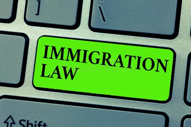 Conceptual hand writing showing Immigration Law. Business photo text Emigration of a citizen shall be lawful in making of travel.  royalty free illustration