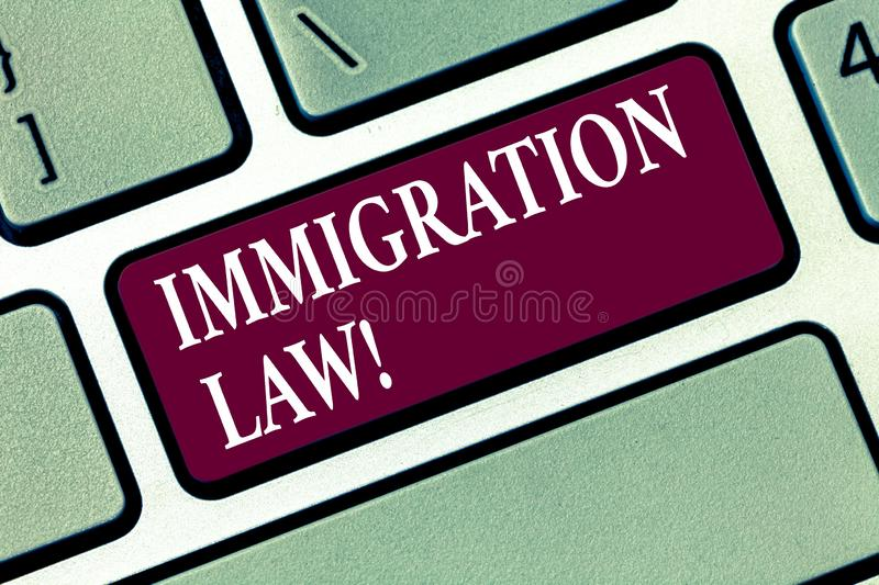 Conceptual hand writing showing Immigration Law. Business photo text National Regulations for immigrants Deportation rules. Keyboard key Intention to create stock photo