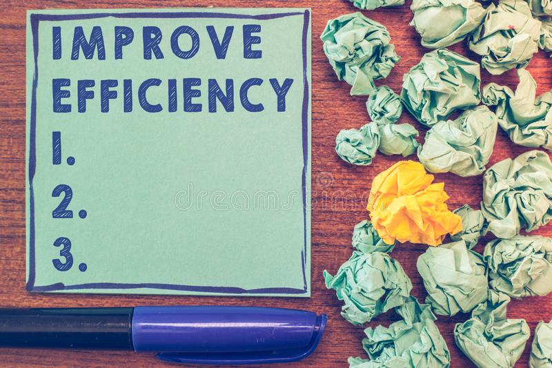 Conceptual hand writing showing Improve Efficiency. Business photo showcasing Competency in performance with Least Waste. Of Effort stock image