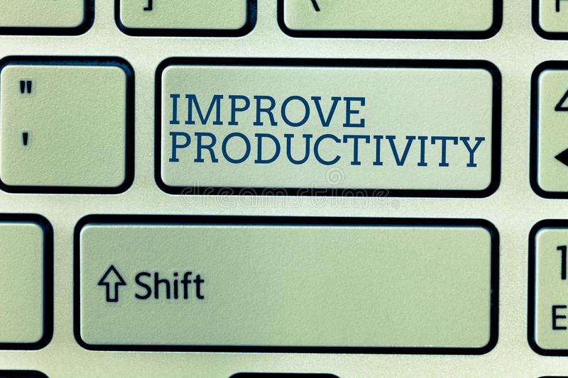 Conceptual hand writing showing Improve Productivity. Business photo showcasing Enhance the Quality of Input Time and. Perforanalysisce stock photo