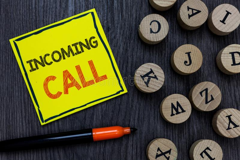 Conceptual hand writing showing Incoming Call. Business photo showcasing Inbound Received Caller ID Telephone Voicemail. Vidcall Yellow paper circle Marker royalty free stock photos