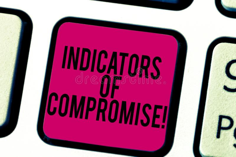 Conceptual hand writing showing Indicators Of Compromise. Business photo showcasing artifact observed on a network. Forensic data Keyboard key Intention to royalty free stock images