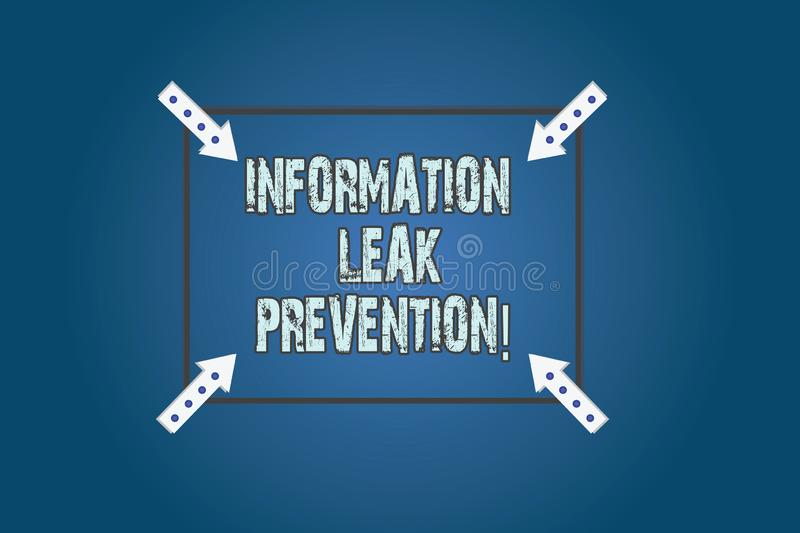 Conceptual hand writing showing Information Leak Prevention. Business photo text Inhibiting critical information to outflow Square. Outline with Corner Arrows stock photography