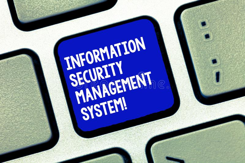 Conceptual hand writing showing Information Security Management System. Business photo showcasing IT safety secure. Technology Keyboard Intention to create stock image