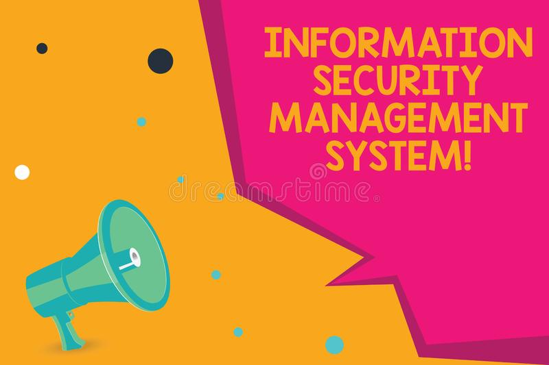 Conceptual hand writing showing Information Security Management System. Business photo text IT safety secure technology Megaphone. Loudspeaker and Blank royalty free stock photos