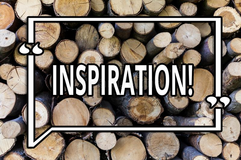 Conceptual hand writing showing Inspiration. Business photo showcasing Stimulation to feel or do something creative Wooden. Background vintage wood wild message royalty free stock image