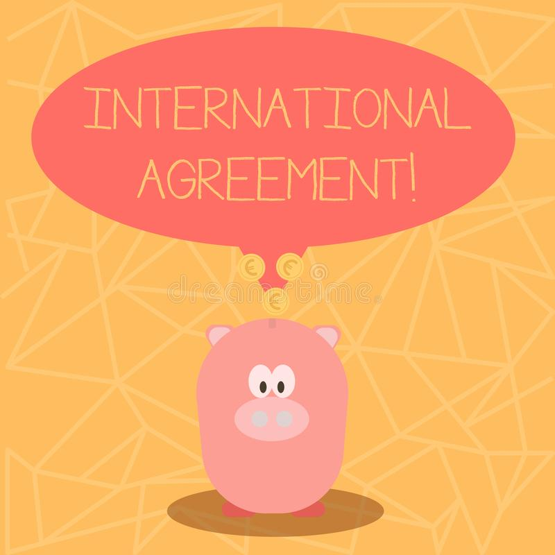 Conceptual hand writing showing International Agreement. Business photo showcasing document signed by countries want. Conceptual hand writing showing vector illustration