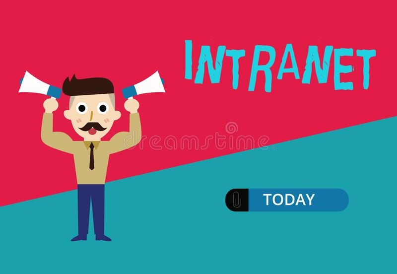 Conceptual hand writing showing Intranet. Business photo showcasing local or restricted communications network. Especially private one vector illustration