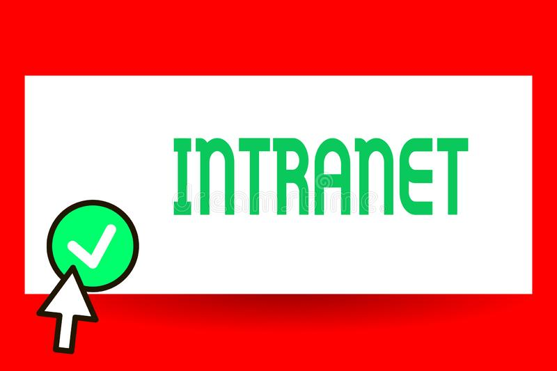 Conceptual hand writing showing Intranet. Business photo text local or restricted communications network especially. Private one stock illustration