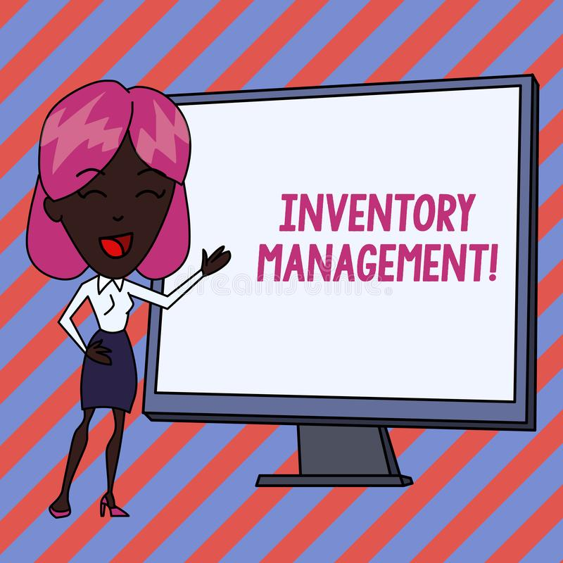 Conceptual hand writing showing Inventory Management. Business photo showcasing Overseeing Controlling Storage of Stocks. Conceptual hand writing showing vector illustration
