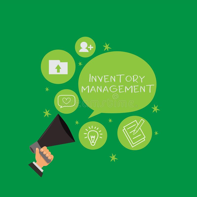 Conceptual hand writing showing Inventory Management. Business photo text Overseeing Controlling Storage of Stocks and. Prices royalty free illustration