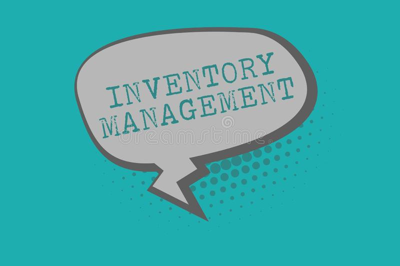 Conceptual hand writing showing Inventory Management. Business photo text Overseeing Controlling Storage of Stocks and. Prices stock illustration