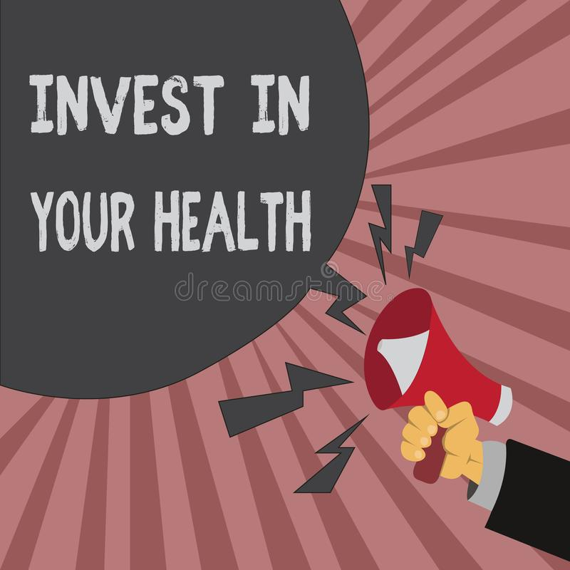 Conceptual hand writing showing Invest In Your Health. Business photo showcasing Live a Healthy Lifestyle Quality Food. For Wellness royalty free illustration