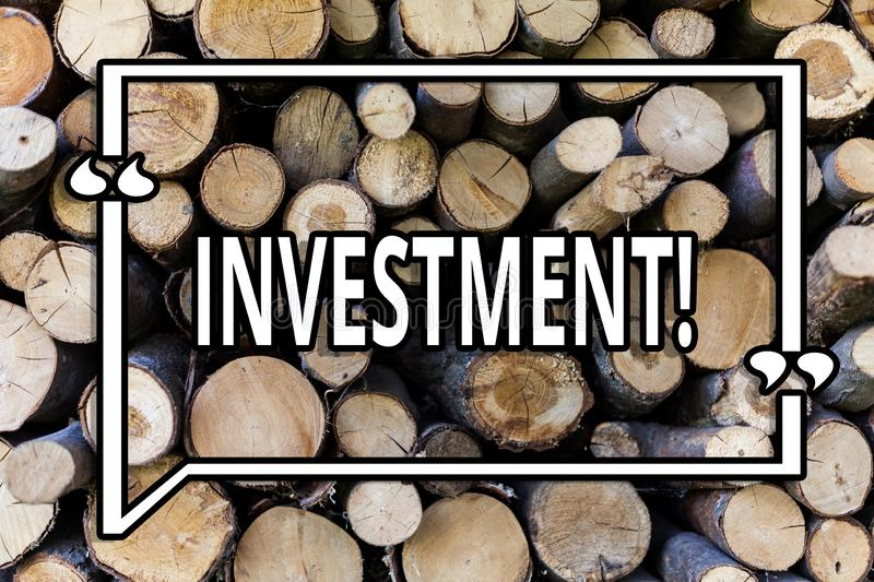 Conceptual hand writing showing Investment. Business photo showcasing To put Money Time into something to make profit Wooden. Background vintage wood wild royalty free stock photography