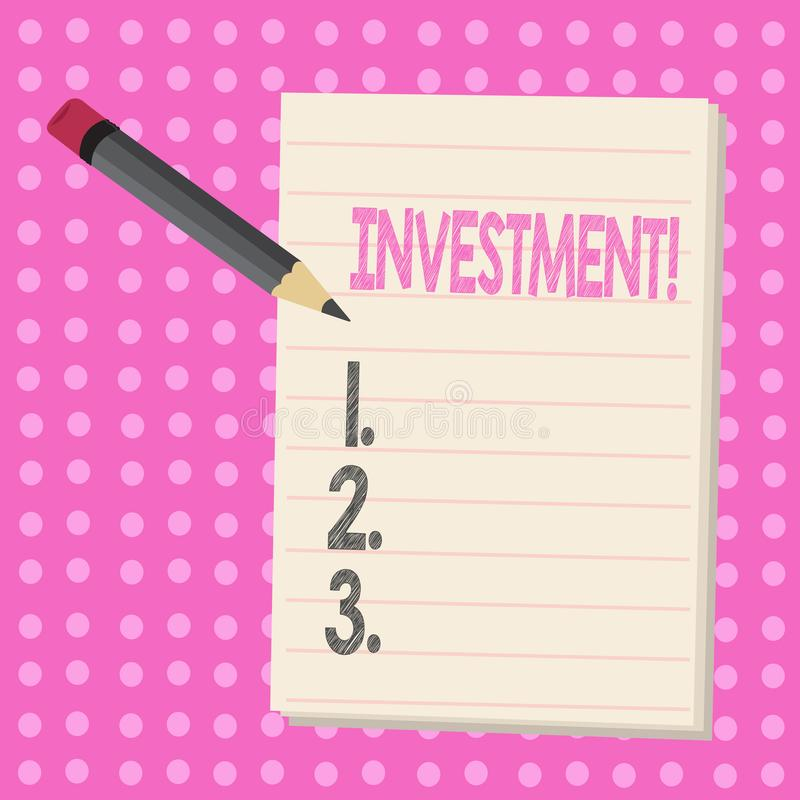Conceptual hand writing showing Investment. Business photo text To put Money Time into something to make profit. Conceptual hand writing showing Investment vector illustration