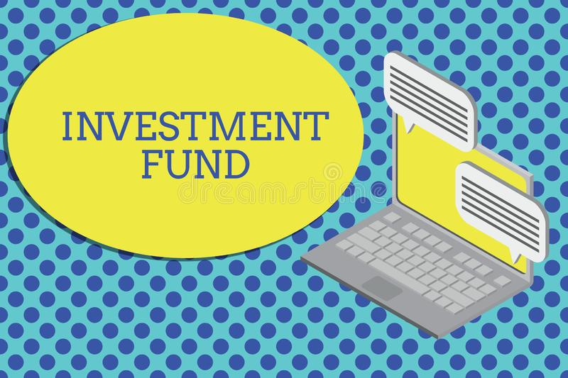 Conceptual hand writing showing Investment Fund. Business photo text A supply of capital belonging to numerous investors. Conceptual hand writing showing stock illustration