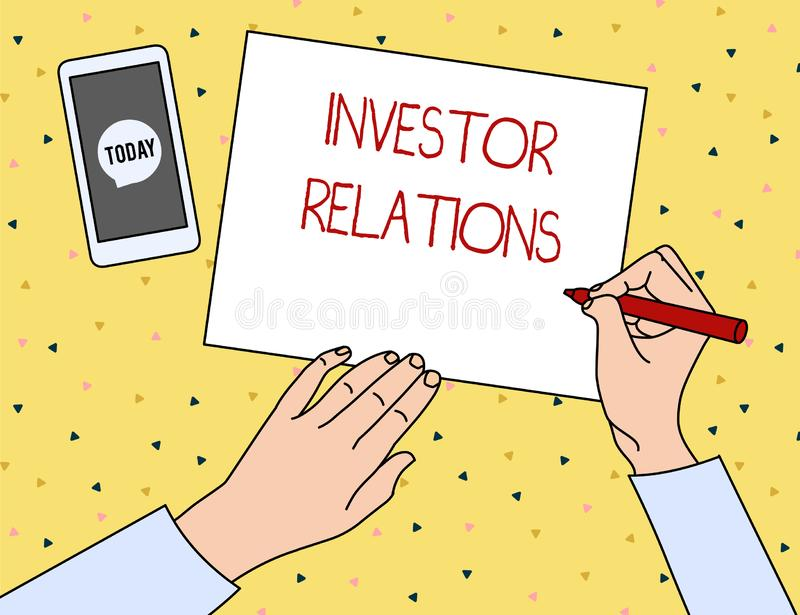 Conceptual hand writing showing Investor Relations. Business photo showcasing analysisagement responsibility that. Conceptual hand writing showing Investor stock illustration