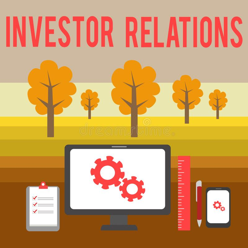 Conceptual hand writing showing Investor Relations. Business photo showcasing analysisagement responsibility that. Conceptual hand writing showing Investor royalty free illustration