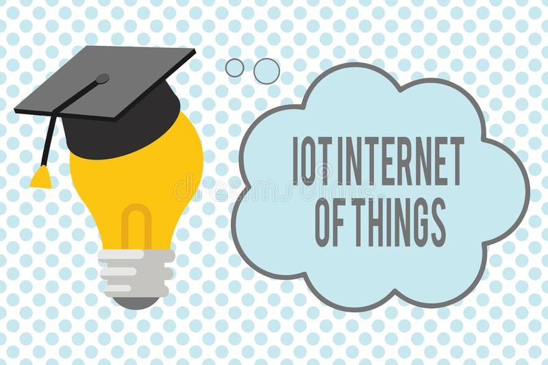 Conceptual hand writing showing Iot Internet Of Things. Business photo showcasing Network of Physical Devices send and. Receive Data vector illustration