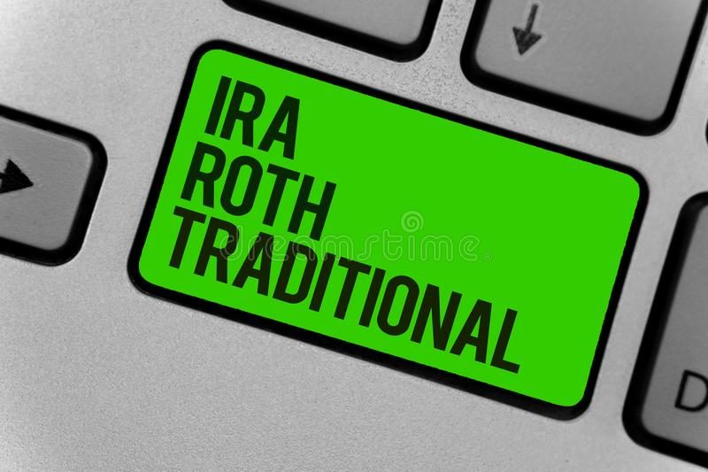 Conceptual hand writing showing Ira Roth Traditional. Business photo showcasing are tax deductible on both state and federal Compu. Ter program keyboard typing royalty free stock image