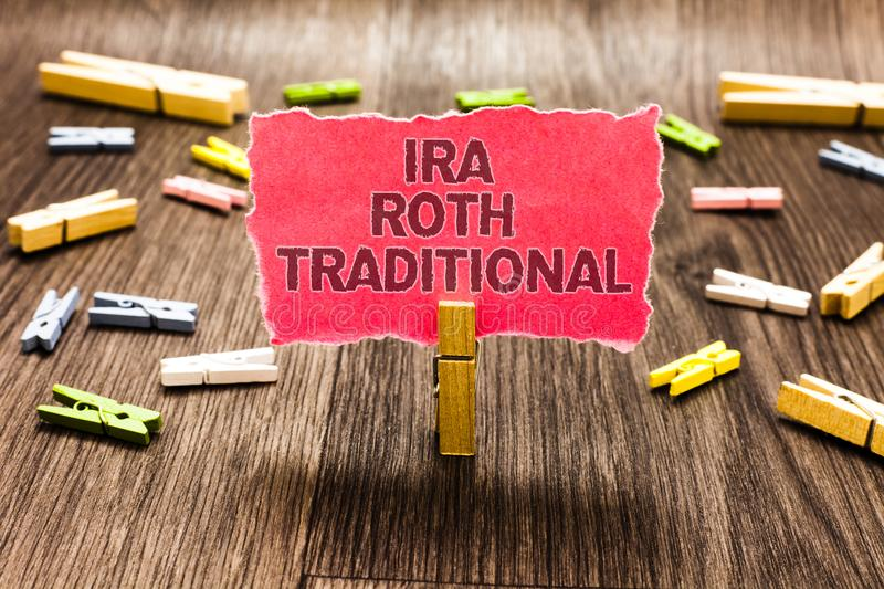 Conceptual hand writing showing Ira Roth Traditional. Business photo text are tax deductible on both state and federal Clips sprea. D woody table learn study stock photo