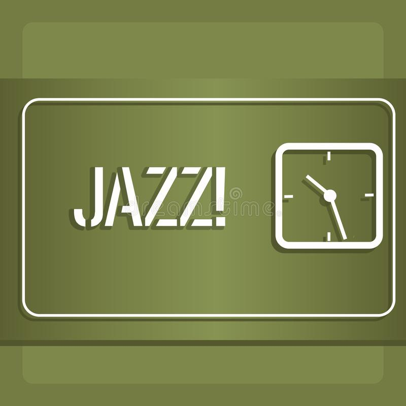 Conceptual hand writing showing Jazz. Business photo showcasing Type of music of black American origin Musical genre. Conceptual hand writing showing Jazz stock illustration