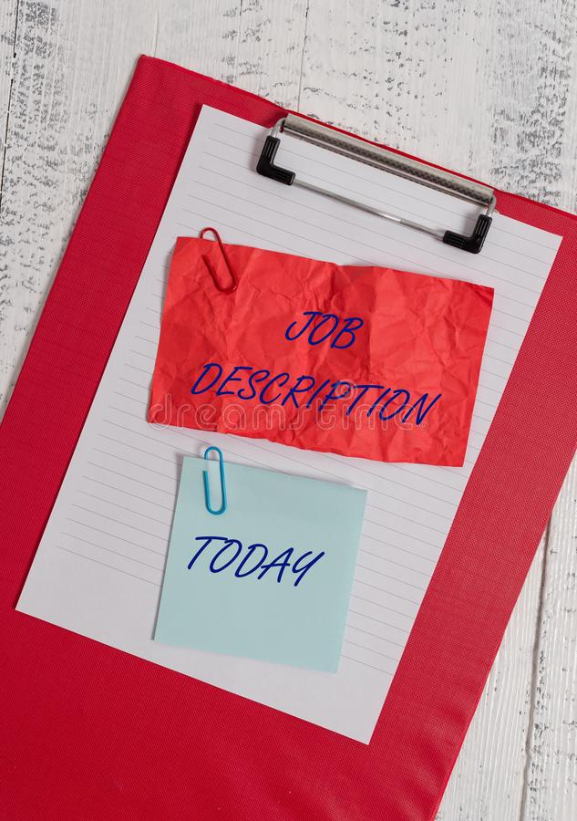 Conceptual hand writing showing Job Description. Business photo showcasing a formal account of an employee s is. Conceptual hand writing showing Job Description stock image