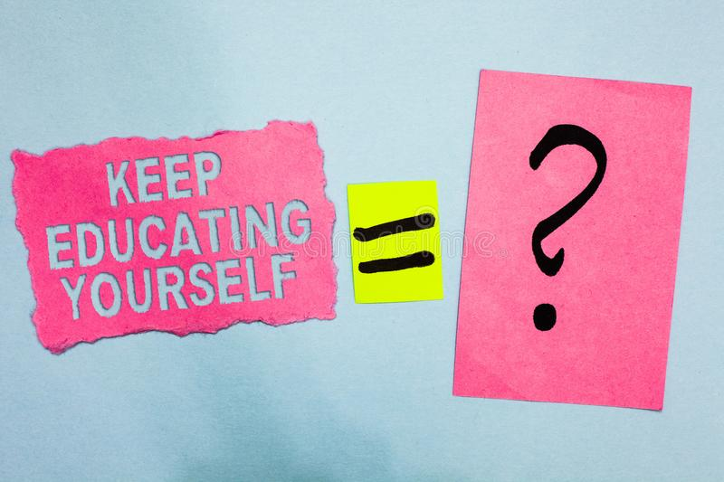 Conceptual hand writing showing Keep Educating Yourself. Business photo showcasing dont stop studying Improve yourself using Cours. Es Pink paper equal sign royalty free illustration